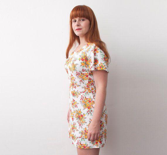 mini dress Floral 70s size M  Dead stock Vintage por blessthatdress