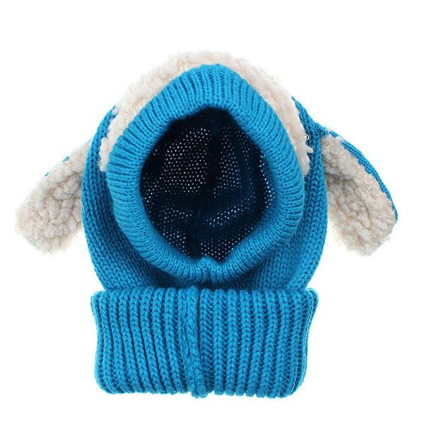 Children Kids Dog Ear Warm Beanie Crochet Hat Knitted Wool Hooded Scarf at Banggood