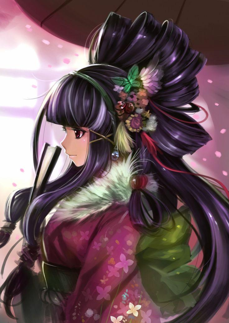 Anime pige med sort hår Dress Kimono Red Eyes Anime-1164