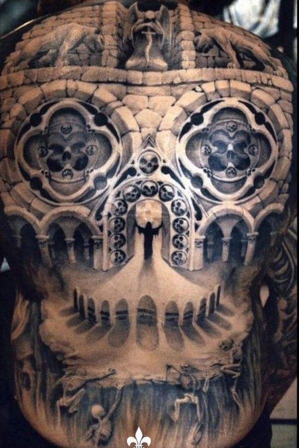 Mystical full back optical illusion tattoos for men.