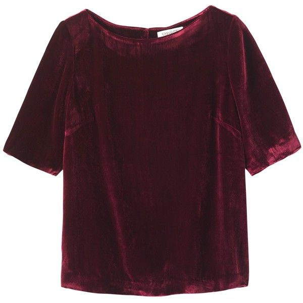 Toast Velvet Top , Berry ($205) ❤ liked on Polyvore featuring tops, berry, velvet tops, elbow length sleeve tops, purple top, boxy top and elbow length tops