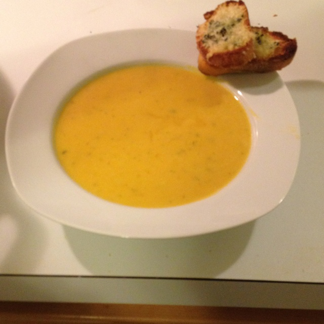 Homemade Winter squash soup with herb gruyere croutons