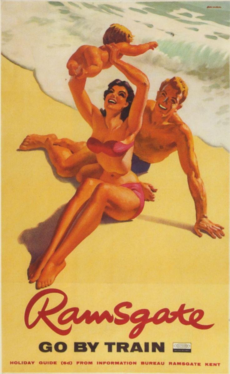 vintage British rail travel poster - Ramsgate U.K. at the beach