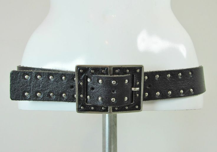 Black leather belt fashion belt feature buckle studded details size L/XL R12064