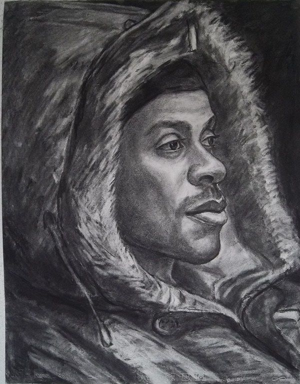 Hoody side profile, charcoal
