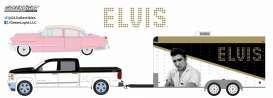 GreenLight - Chevrolet  - gl31020A : 2015 Chevrolet Silverado with 1955 Cadillac Fleetwood Series 60 Elvis Presley (1935-77) *Pink Cadillac* in Enclosed Car Hauler *Hollywood Hitch & Tow Series 2*
