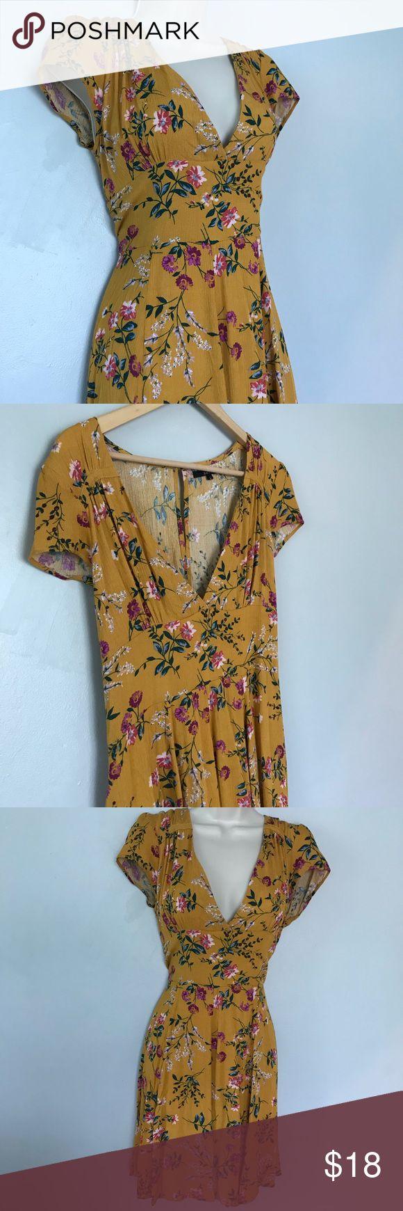 Beautiful Floral Deep Vneck Dress Beautiful Mustard Yellow Floral Deep Vneck Dre…