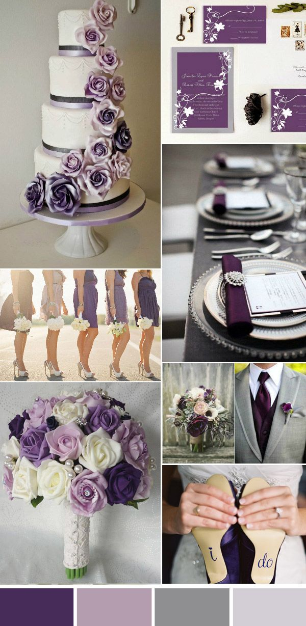 elegant purple and gray wedding colors