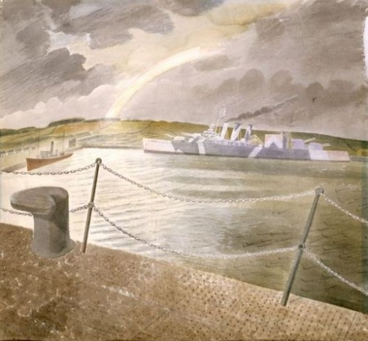 """Rainbow and Camouflaged"" by Eric Ravilious, 1942. Due to wartime security the exact location of his works were rarely given. Writing to a friend, Ravilious describes completing the work back home in Essex 'with the help of an Ironbridge sky and some sea out of my head'."