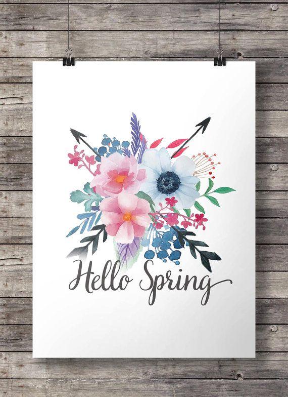 Hallo Frühling Floral botanische Aquarell Pfeile von SouthPacific