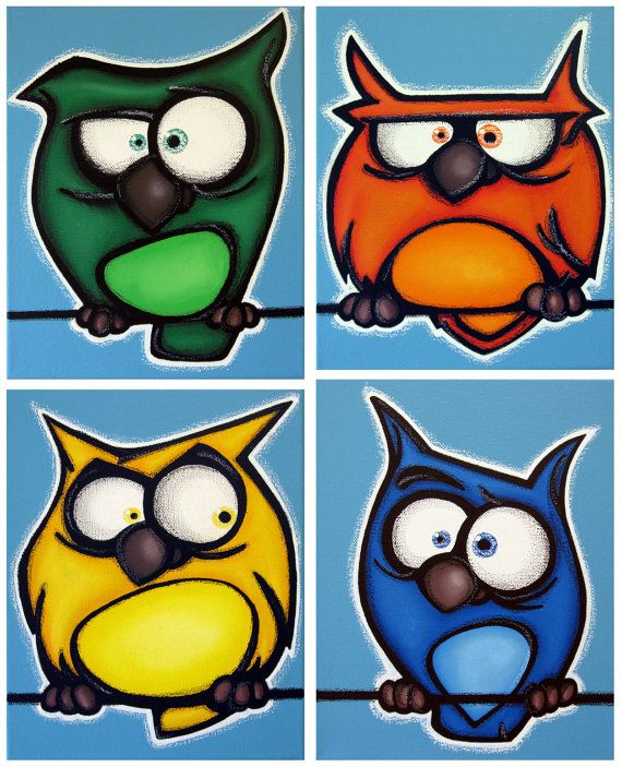 aNGRy oWLs - FREE SHIPPING - set of 4 8x10 original acrylic paintings on canvas, owl art, owl paintings