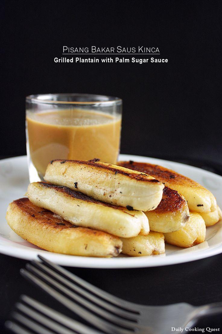 Pisang Bakar Saus Kinca - Grilled Plantain with Palm Sugar Sauce