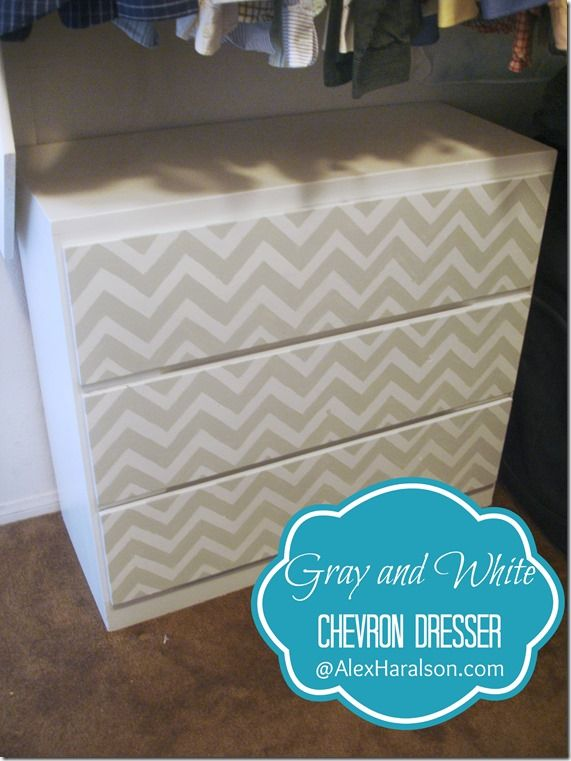 Grey and White Chevron Dresser Redo