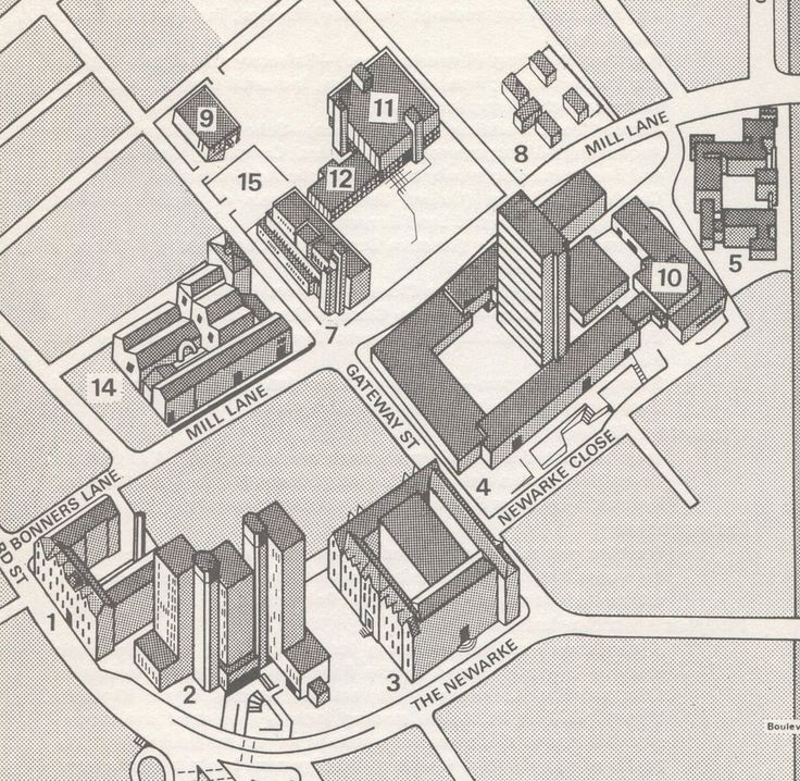 Leicester Polytechnic campus map 1977 Showing the James Went Building, Fletcher Building, Hawthorn Building, Stibbe Building, Kimberlin Library and Exhibition Hall, and Eric Wood Building.