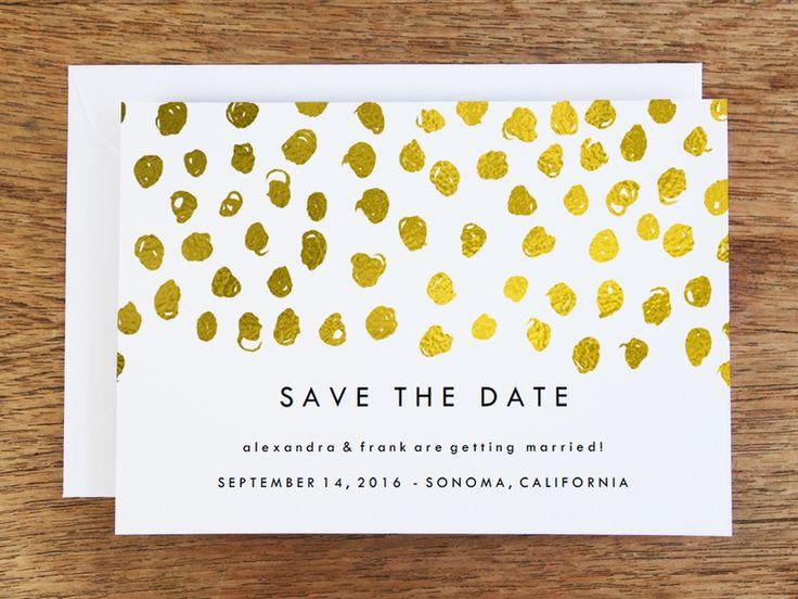 Save the Date Karte zum Selberdrucken - Gold Dots von e.m.papers auf DaWanda.com