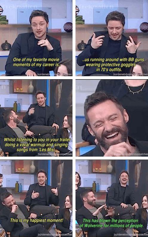 Hugh Jackman singing Les Mis songs on the X-men set.