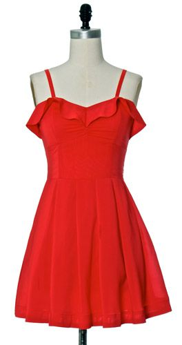 Flaunt your inner cuteness with this super flirty and sexy tomato red dress.  Features a delicate ruffle detailing along the bust and girlie back bow.