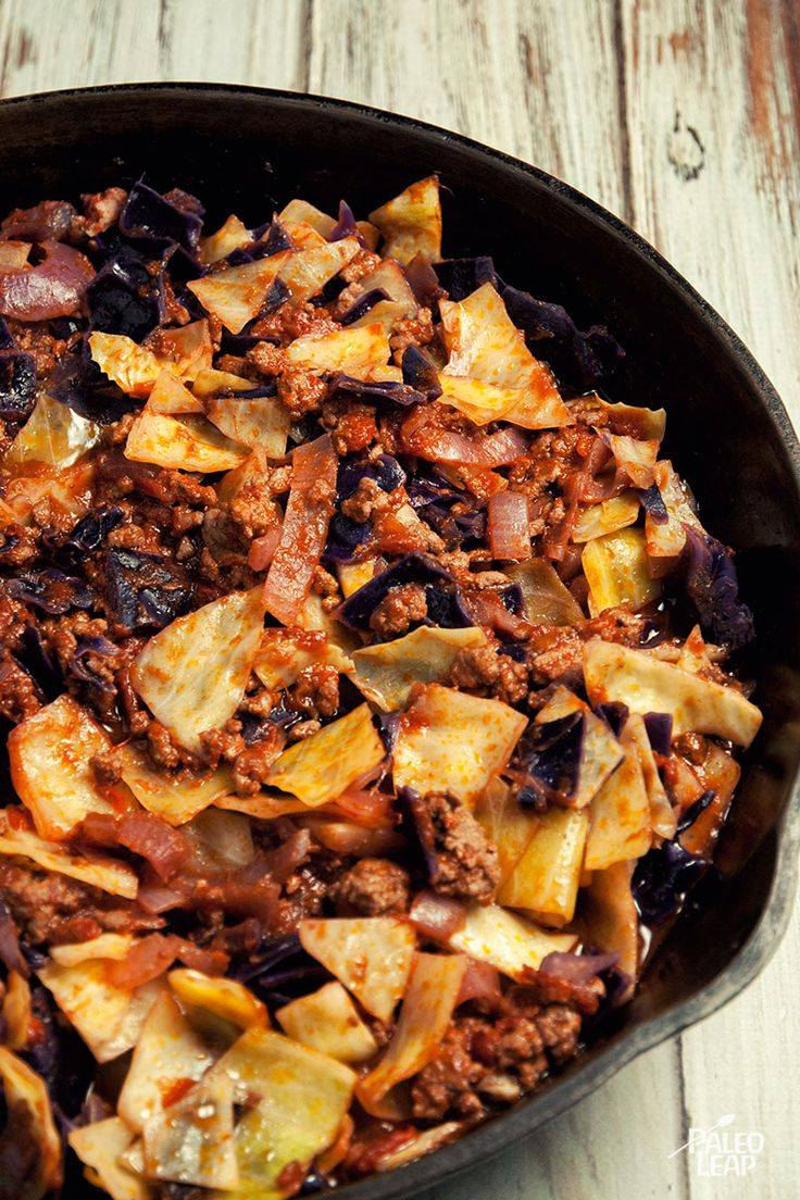 Ground Beef And Cabbage Skillet--quicker than cabbage rolls. May sound odd, but I like mine with cranberry sauce, and that adds some serious nutrition, too.