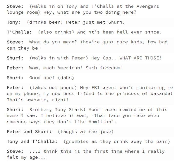 Yes to alllllll! Adorkable Peter & Shuri, comiserating Tony and T'Challa, and delighted/bemused Steve