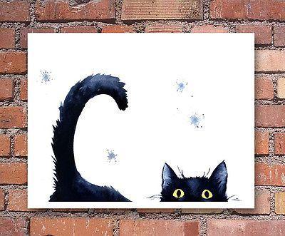 Detalles sobre Sneaky Black Cat Lámina Pintura de acuarela