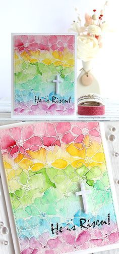 RejoicingCrafts: He is Risen! Easter card w/ Simon Says Stamp Artful Flowers and Rejoice stamp sets.