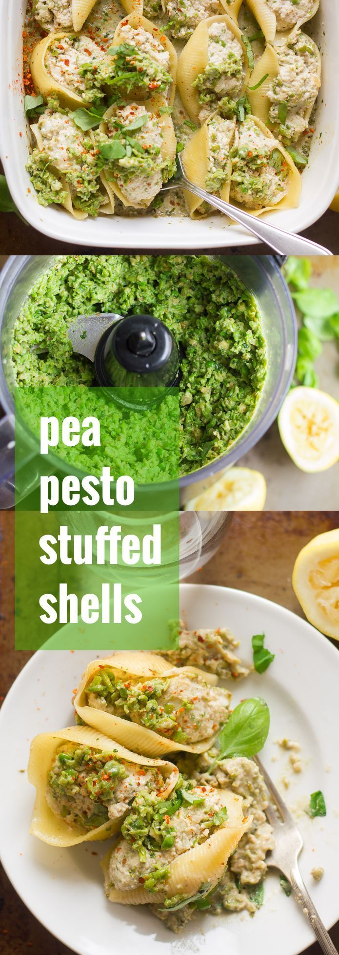 These vegan stuffed shells are filled with a mix of dairy-free cashew tofu ricotta and garlicky basil pea pesto, and baked up in a creamy sauce to bubbly perfection.