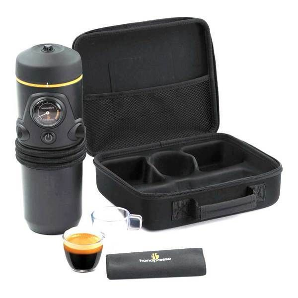 "The Handpresso portable espresso machine is the first 12 volt espresso maker for autos.  The Handpresso Auto allows you to have a coffee break on the road! Ease of use coupled with convenience make this a ""must have"" for road trips. The Handpresso Auto can be placed in the car's cup holder."