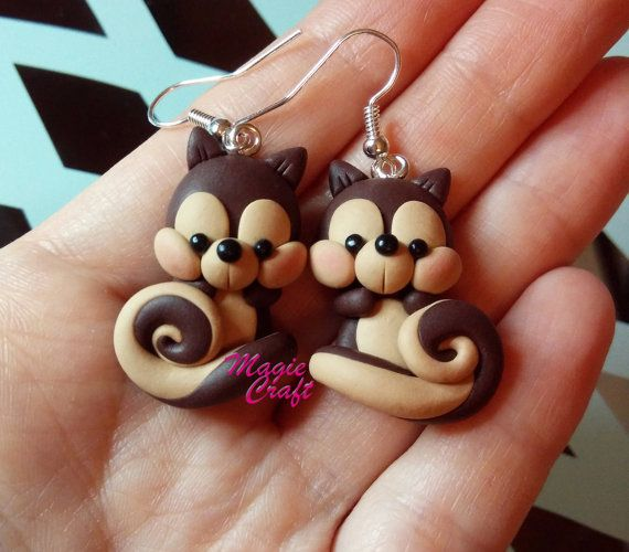 Squirrel Squirrel and Acorn Earrings Polymer Clay by MagieCraft