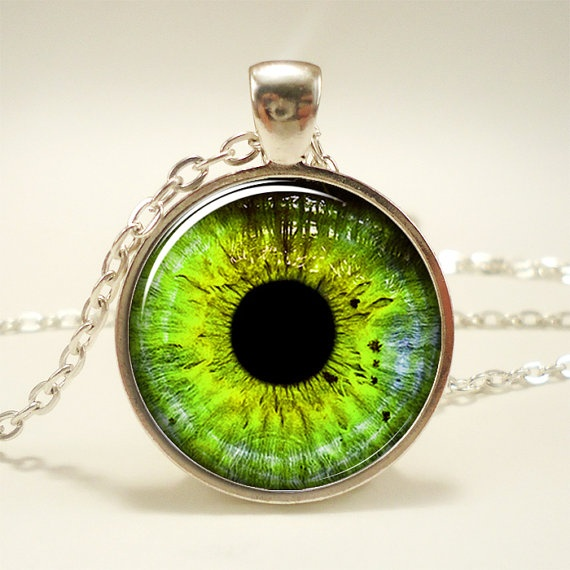 Green Eye Necklace Third Eye Jewelry Evil Eye Pendant by rainnua, $14.45. this is creepy and cool at the same time