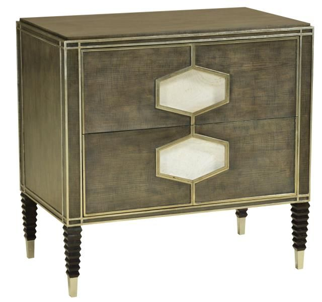 TOP PICK by LISA FERGUSON http://lisafergusoninteriordesign.com/ Emerson Bentley   15029 Ventura Night Stand   This gorgeously figured ash veneer has been finished in a pleasing light grey with natural dark highlights. The extensive raised moldings have been silver-leafed and the recessed door handles veneered in white ash burl. Notice the ferrules and the mid-century modern, accordion legs! This full Dining & Bedroom Collection will debut in October!  #HPMKT