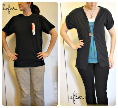 Easy t-shirt remodel! Via diary of a mad crafter
