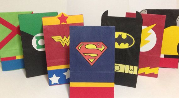 RESERVED for TERESA:   Justice League  Superhero inspired birthday party/treat bags