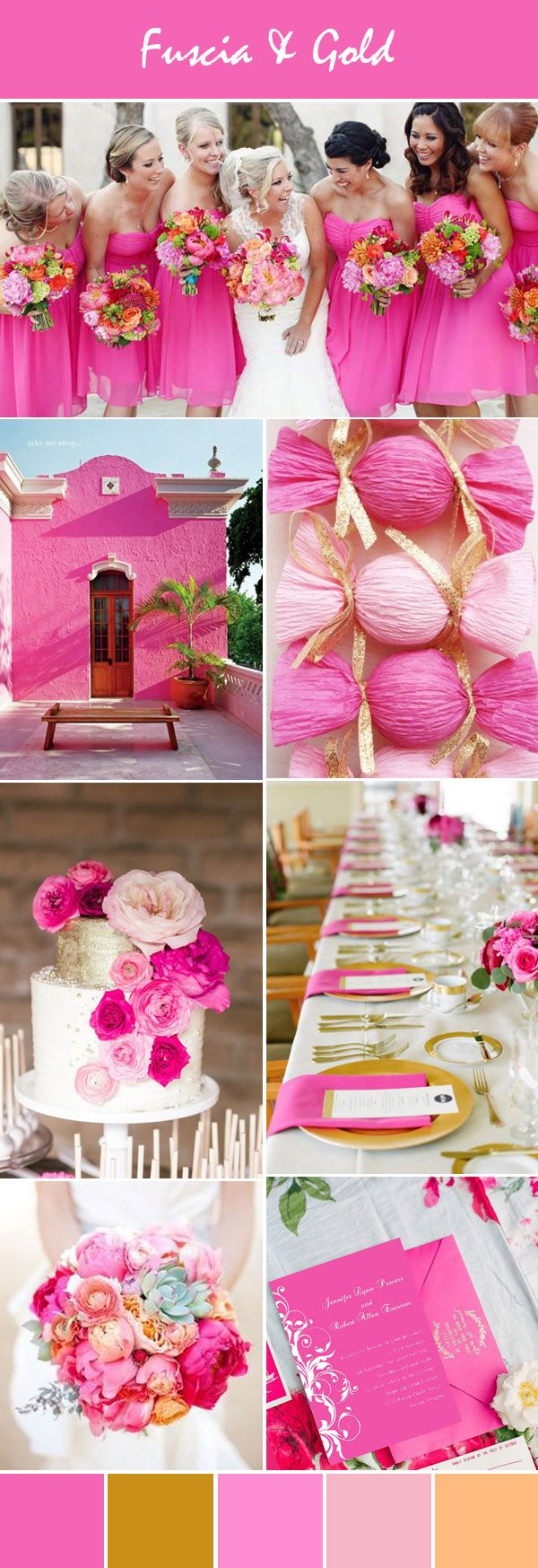 fuscia pink and gold wedding ideas and pink wedding invitations see more www.homeboutiquecraft.com