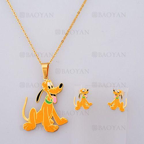 collar y aretes de perro Pluto de dorado en acero-SSNEG804101