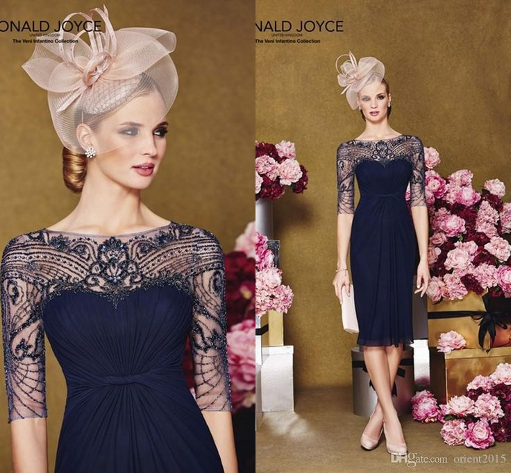 Mother Of Wedding Dresses 2015 Navy Blue Beaded Half Sleeves Knee Length Ronald Joyce Chiffon With Lace Mother Of The Bride/Groom Dresses Plus Size Mother Of The Bride Gowns From Orient2015, $119.69  Dhgate.Com