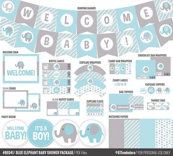 photograph relating to Printable Baby Shower Decorations called BLUE ELEPHANT Kid SHOWER Bundle / Printable Kid Shower