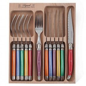 Andre Verdier Laguiole Debutant Cutlery Set 12 Piece Multicoloured Original