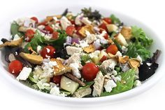 (NEW) Panera Fuji Apple Chicken Salad Made Skinny. My skinny version is similar but I used a few skinny substitutes. Each main course salad has 299 calories, 8g fat & 7 Weight Watchers POINTS PLUS. http://www.skinnykitchen.com/recipes/panera-fuji-apple-chicken-salad-made-skinny/