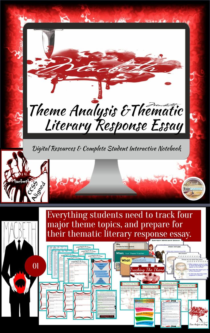 Theme Analysis &Thematic Literary Response Essay for Shakespeare's Macbeth Secondary and College ELA