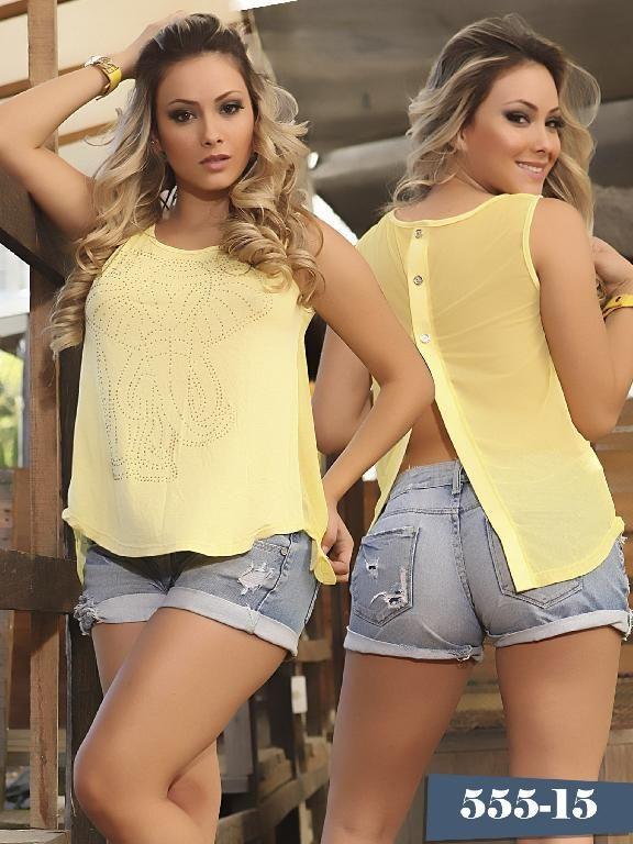 Blusa Colombiana Dirtyx Amarillo - Ref. 231 -555 Amarillo