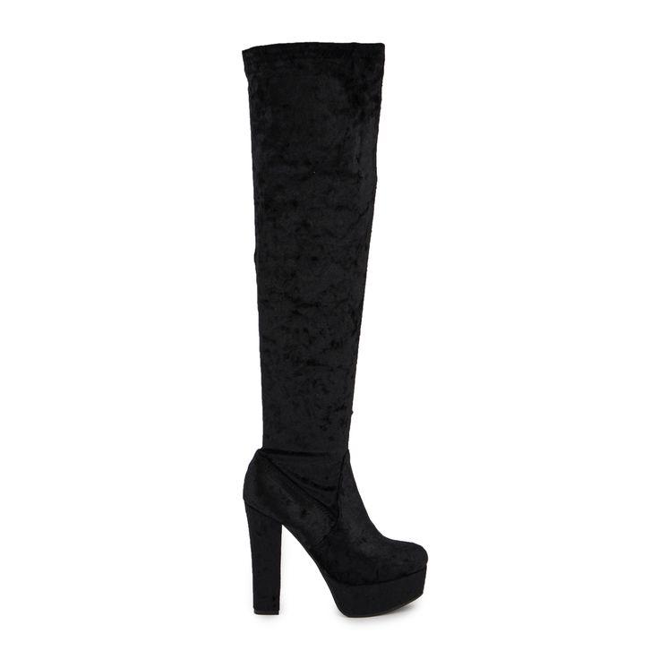 Μπότες μαύρες βελούδινες ψηλοτάκουνες Από €59,99 ΤΩΡΑ €29,99!
