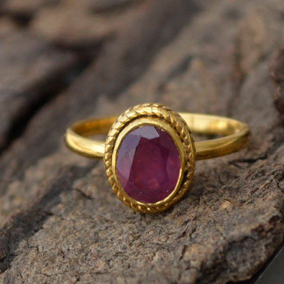 Red Ruby Gemstone Ring July Birthstone Ring- R1792 Ruby Ring Lovely Ruby Ring Designer Indian Jewelry Promise Ring Dainty Ring