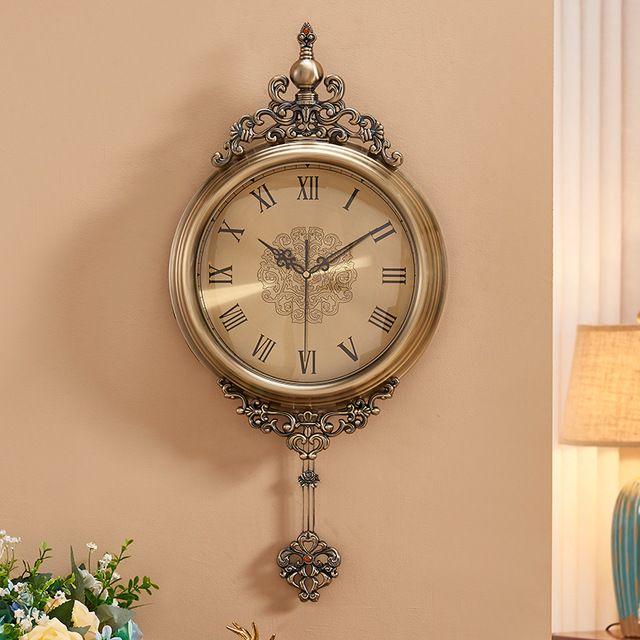 Mdc 5316 Zinc Alloy Retro Wall Clock Elegant Antique Poendant