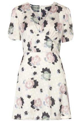 Satin Floral Tea Dress