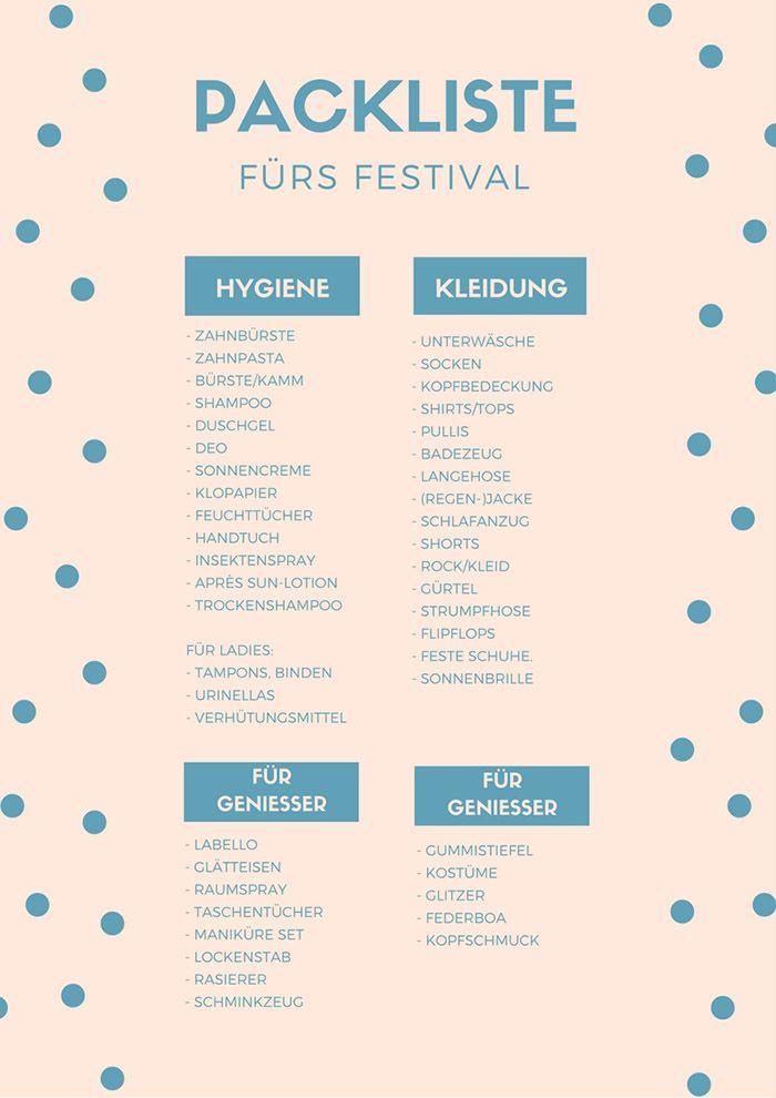 Die ultimative Festival Packliste zum DOWNLOADEN!