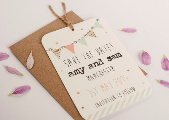 Pastel bunting save the date  gem peach mint by normadorothy, £1.70