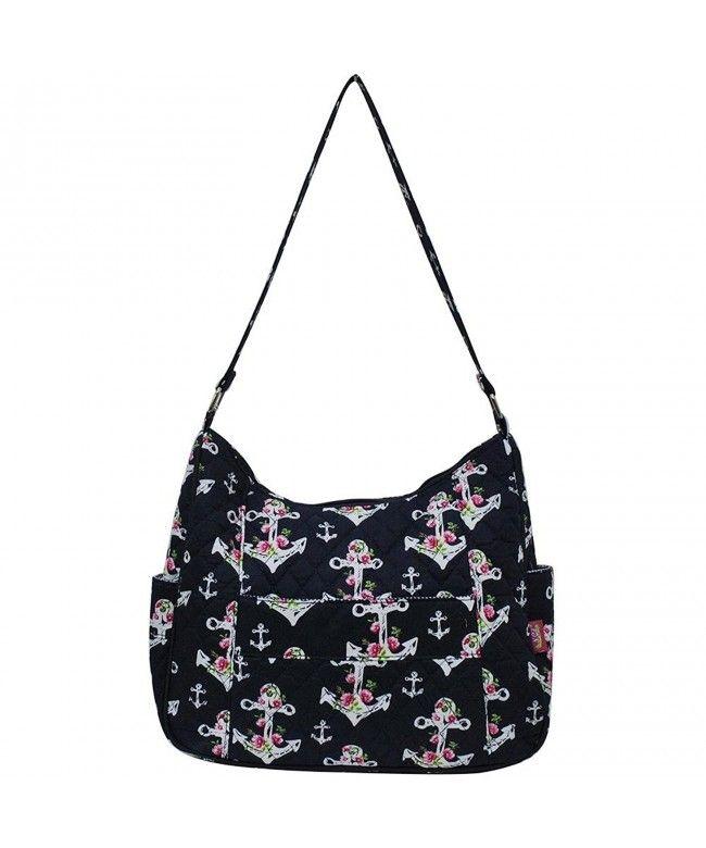 Quilted Cotton Hobo Shoulder Bag - Rose Anchor Navy Blue - C4180DQXLXL  Bags   Handbags 62c88fda51a7e
