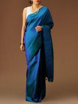 Blue-Green Kanchipuram Silk Saree....... Kanchis can b starkly simple too!