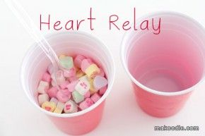 Heart Relay - Valentines Minute to Win It Games for Valentines Party