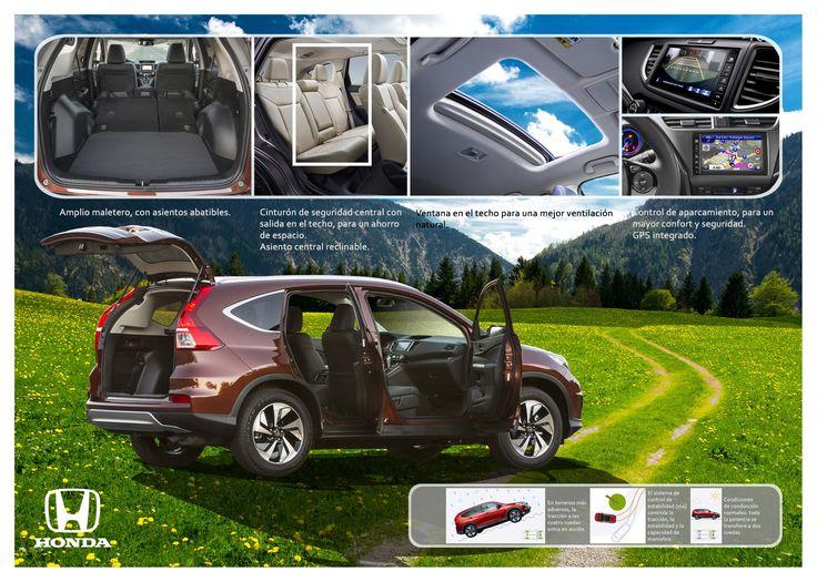 """Páginas 4 y 5 del catálogo del nuevo Honda CRV """"Confort, Seguridad, y GPS""""."""